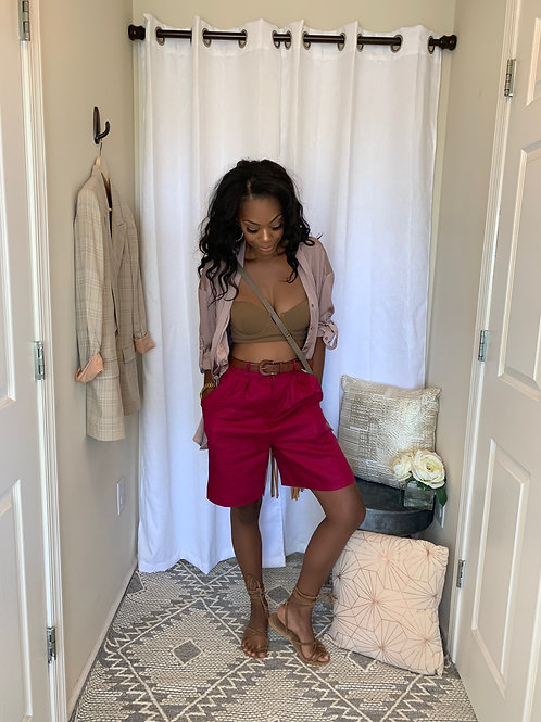 Berry colored linen shorts - SIZE 8