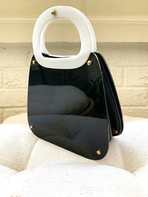 Vintage 1960's Koret Black & White Lucite and Leather Purse