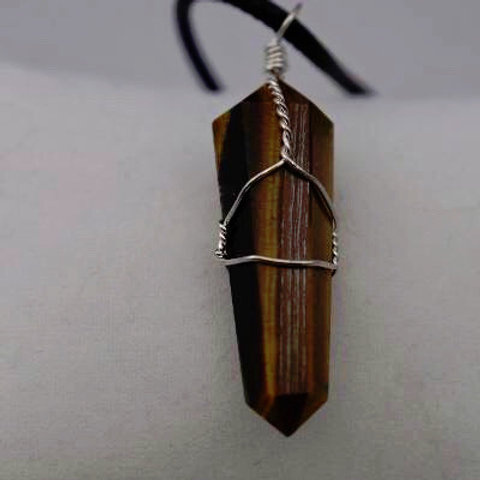 Tiger Eye Pendant: Double-Terminated