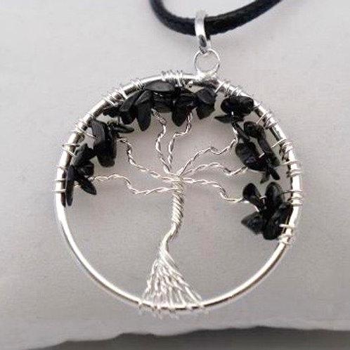 Tree of Life Pendant: Black Tourmaline