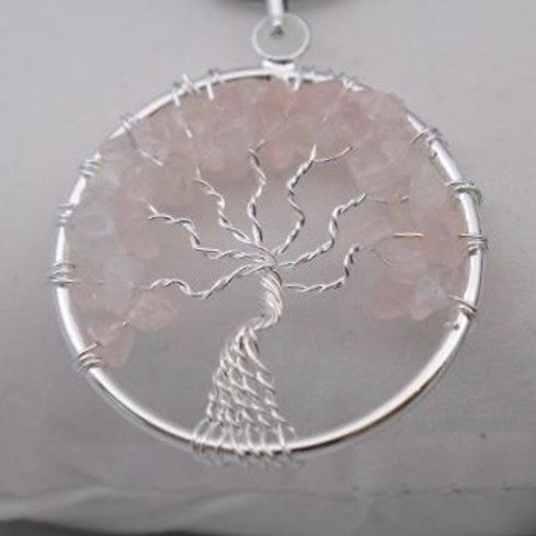 Tree of Life Pendant: Rose Quartz