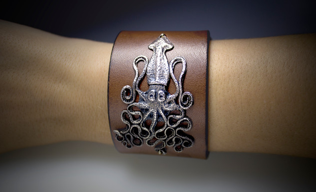 Silver Squid on leather