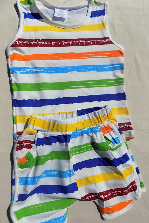 Colored Stripes Short Set - R