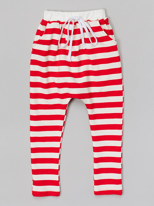 Red & White Stripe Harem Pants -R
