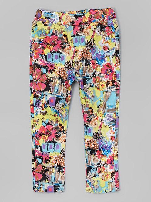 Flower on Black Pants -R