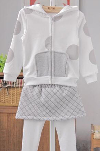 Gray & White Skirt Set - R