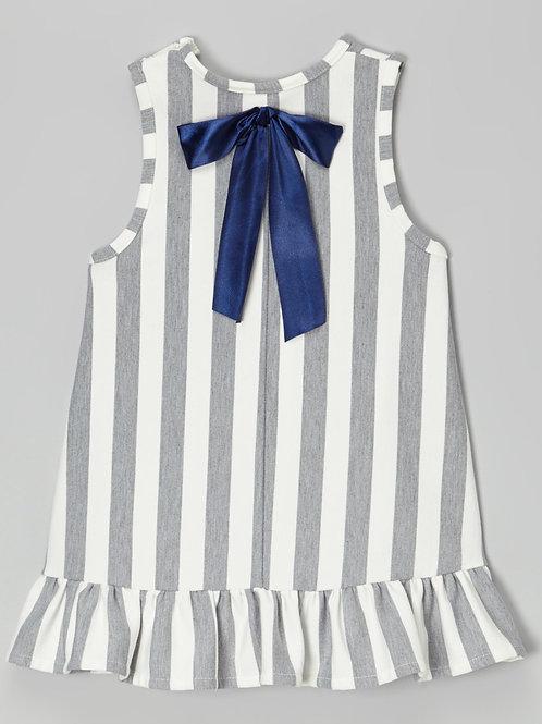 Gray and White sleeveless Dress -R