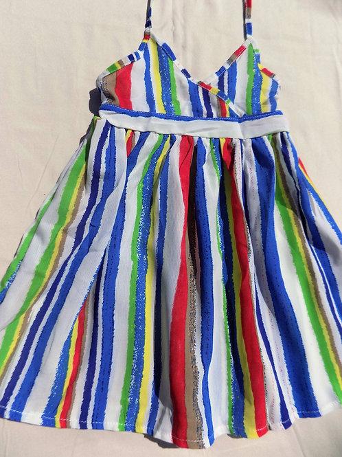 Blue Colored Stripes Summer Dress - R