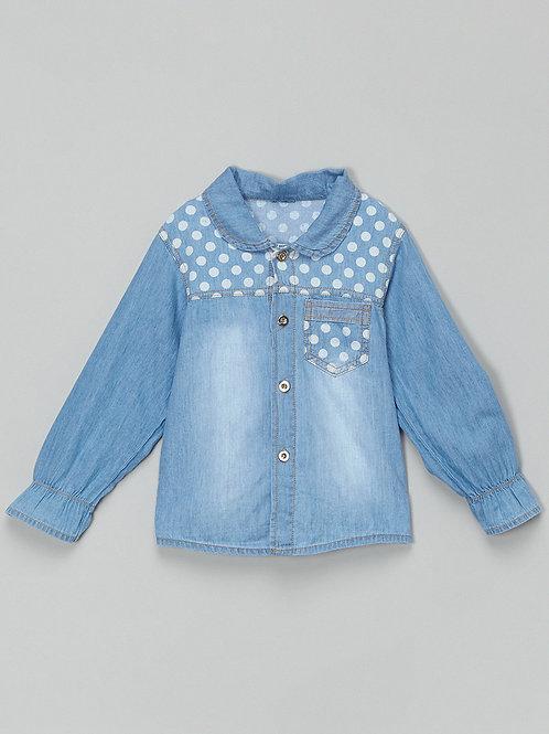 Blue Denim Chambray Polka Dot Button-Up -R