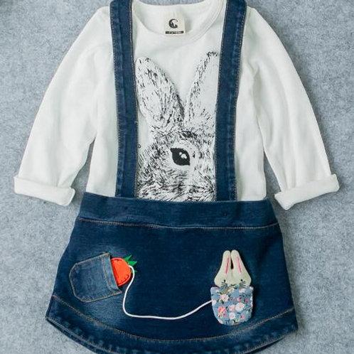 White & Denim Skirt - R