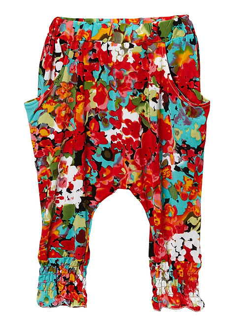 Red Floral Harem Pants - R
