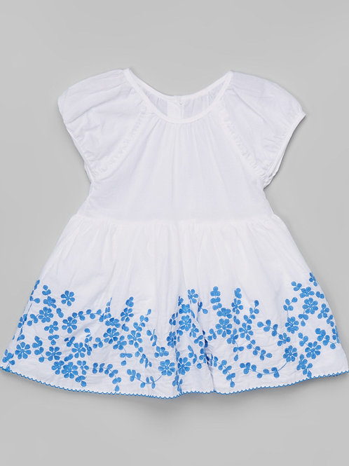 White & Blue Floral Dress -R