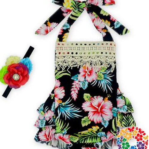 Hawaiian Flowers on Black - Short Romper - R