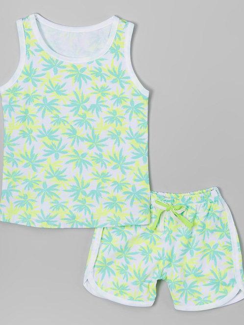 Green Palm Tree Tank & Shorts -R