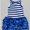 Thumbnail: Blue & White Stripe Ruffle Dress -R
