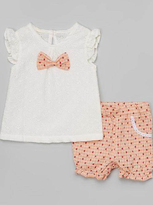 White Bow Top & Peach Heart Shorts -R