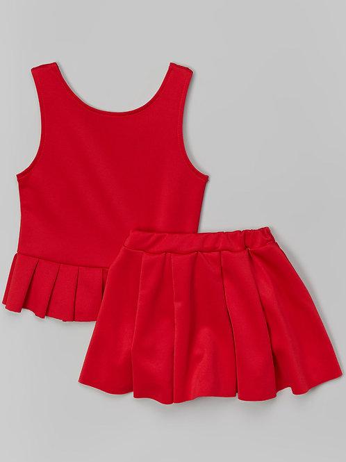 Red Peplum Tank & Skirt -R