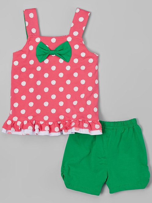 Pink & Green Polka Dot Tank & Shorts -R