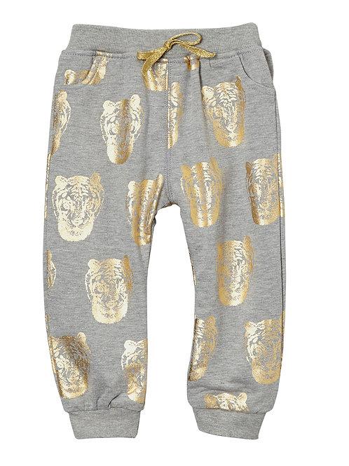Gray & Gold Tiger Harem Pants - R