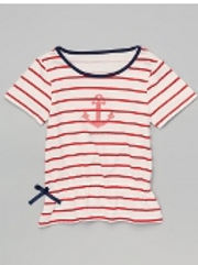 White & Red Stripes Tee -R