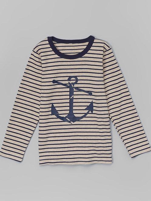 Tan Stripe Anchor Tee -R