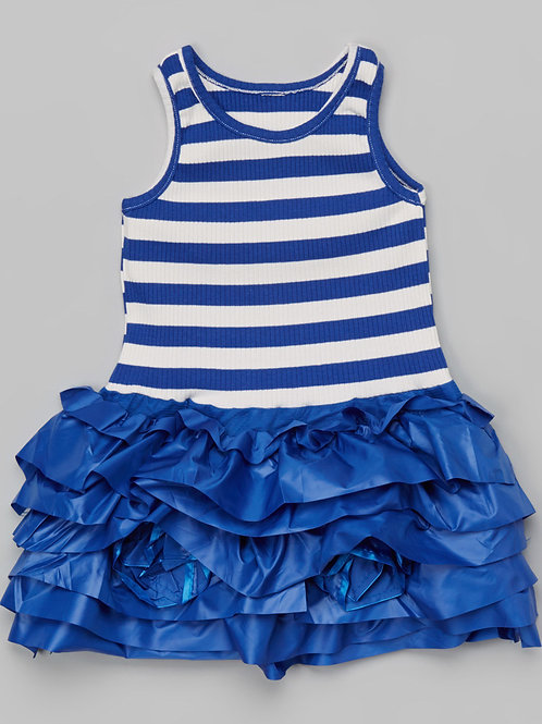 Blue & White Stripe Ruffle Dress -R