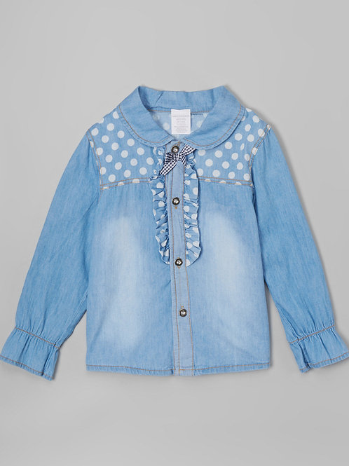 Chambray Polka Dot Button-Up -R