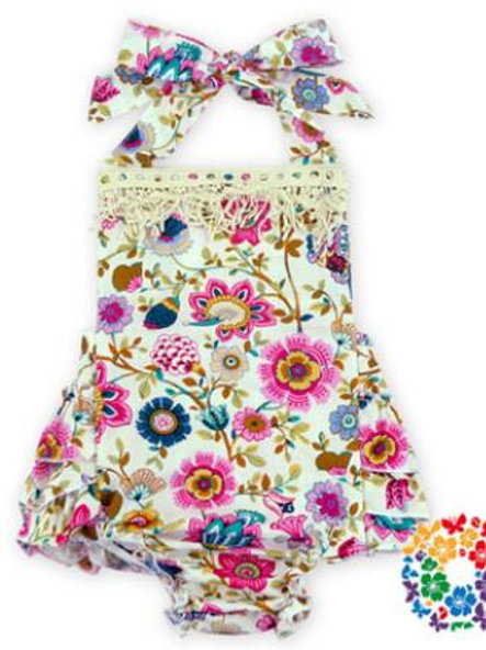 Cut Flowers on White - Short Romper - R