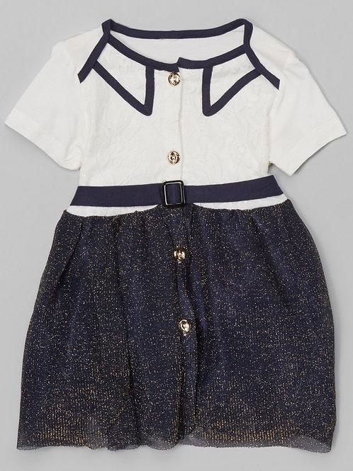 Black Lace Glitter Overlay Dress -R