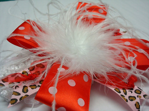 Red, White Ribbons and Feathers Headband - R