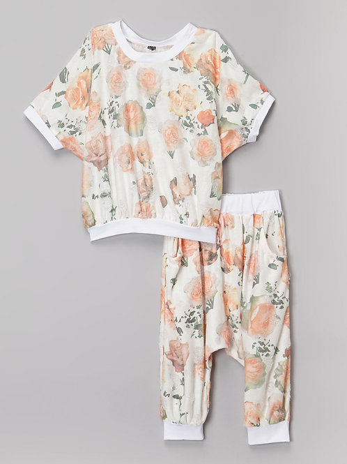 Peach White Pants Set - R