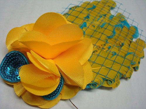 Yellow & Blue Feathers and flowers Headband - R