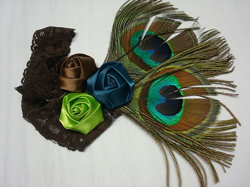 Peacock Feathers & Jewels Headband - R