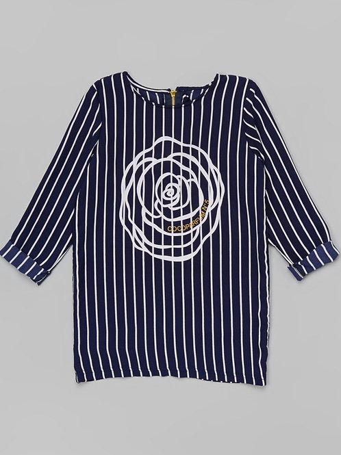 Dark Blue Flower Stripe Tunic -R