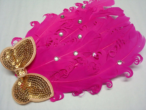 Hot Pink Feathers and Jewel Headband - R
