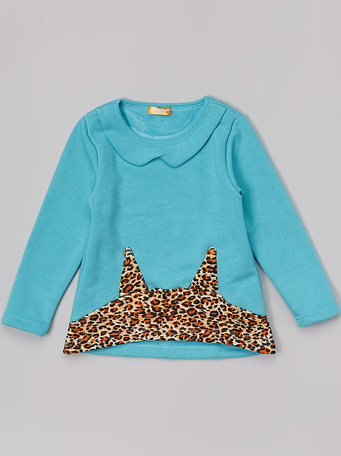 Blue Sweatshirt with Animal Print -R