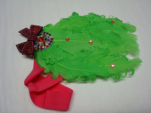 Green Feathers and Jewles Headband - R
