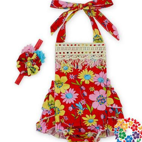 Cut Flowers on Red - Short Romper - R