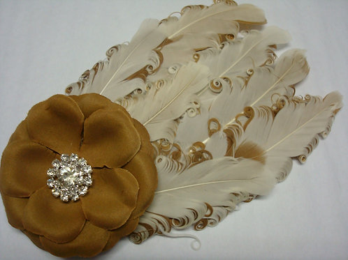 Brown & Tan Feathers and flowers Headban