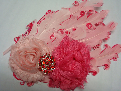 Pinks Feathers and flowers Headban