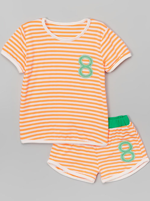 Orange stripes number 8 Pants set -R