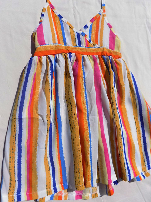 Yellow Colored Stripes Summer Dress - R