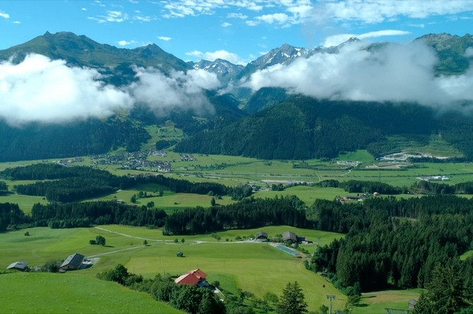 Spectacular views of High Tauern National Park (Nationalpark Hohe Tauern) from the site of Six Senses Kitzbühel Alps