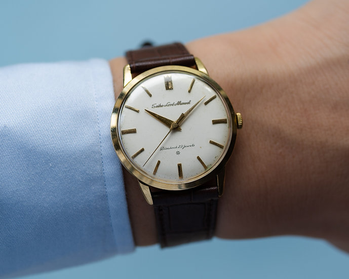 Seiko Lord Marvel carved logo 18 solid gold Aug 1960