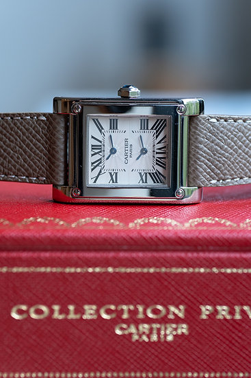 Cartier Tank à Vis Dual Time CPCP in white gold, full set