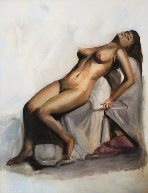 paola charnet nude portrait woman fine art modern art realistic portrait