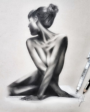 realistic drawing of a woman nude nake portrait series charcoal beautiful graphite drawing wallpaper artist paolambina