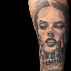 Portrait tattoo of _alessandraambrosio.j