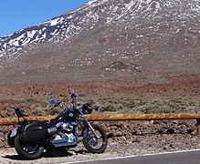 Teide Snow Harley Davidson Dyna Street Bob Canary Islands Rides Tenerife Rental & Tours #canaryislandsrides