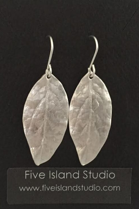 Large Blueberry Leaf Earrings